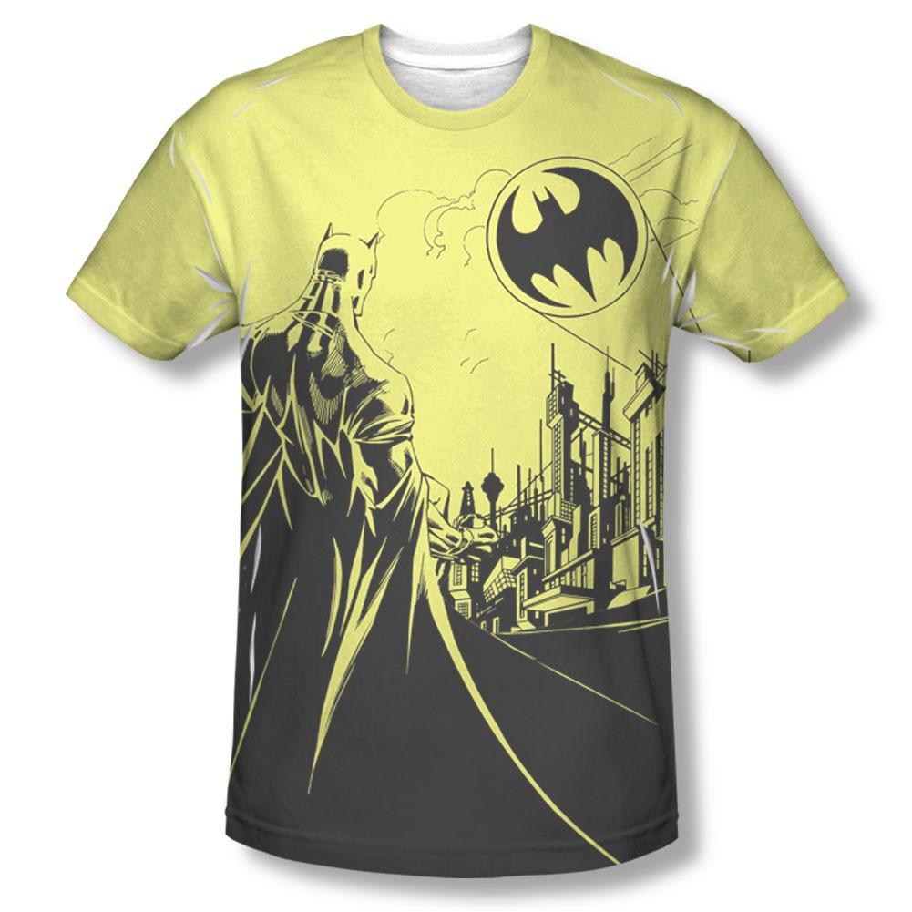Batman Men's Yellow Bat Signal Sublimation Tee Shirt