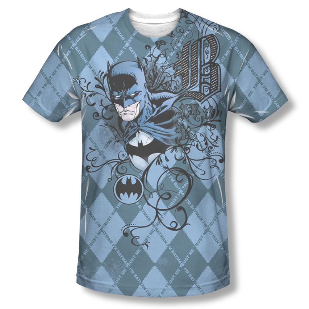 Batman Men's Blue Argyle Pattern Sublimation T-Shirt