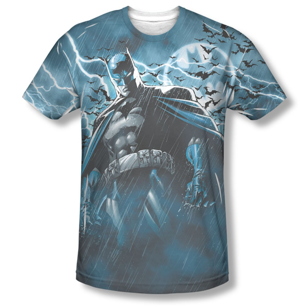 Batman Men's Blue Sublimation Stormy Knight Tee Shirt