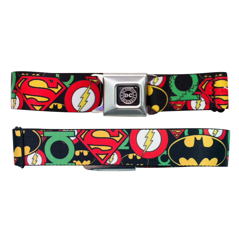 Justice League Logos Seatbelt Buckle Belt