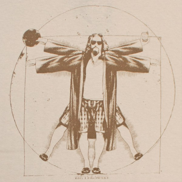 The Big Lebowski Vitruvian Da Vinci Men's Tan Graphic T-Shirt