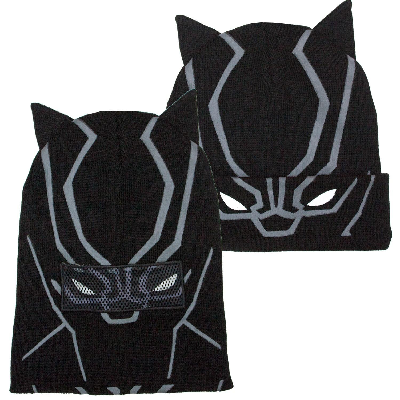 Black Panther Flip Down Black Winter Hat