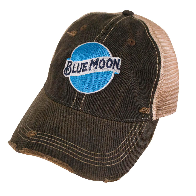 Blue Moon Retro Brand Brown Mesh Trucker Hat