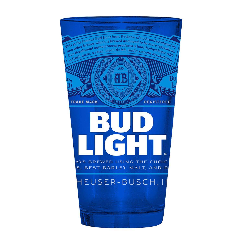 Bud Light Label Blue Pint Glass