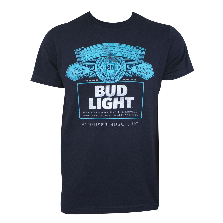 Bud Light Men's Navy Blue T-Shirt