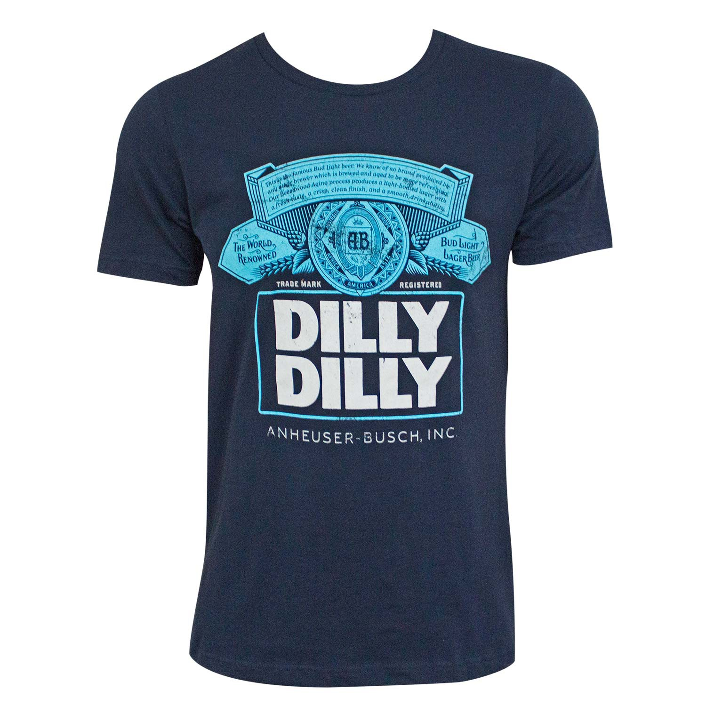 Bud Light Dilly Dilly Box Logo Navy Blue Tee Shirt