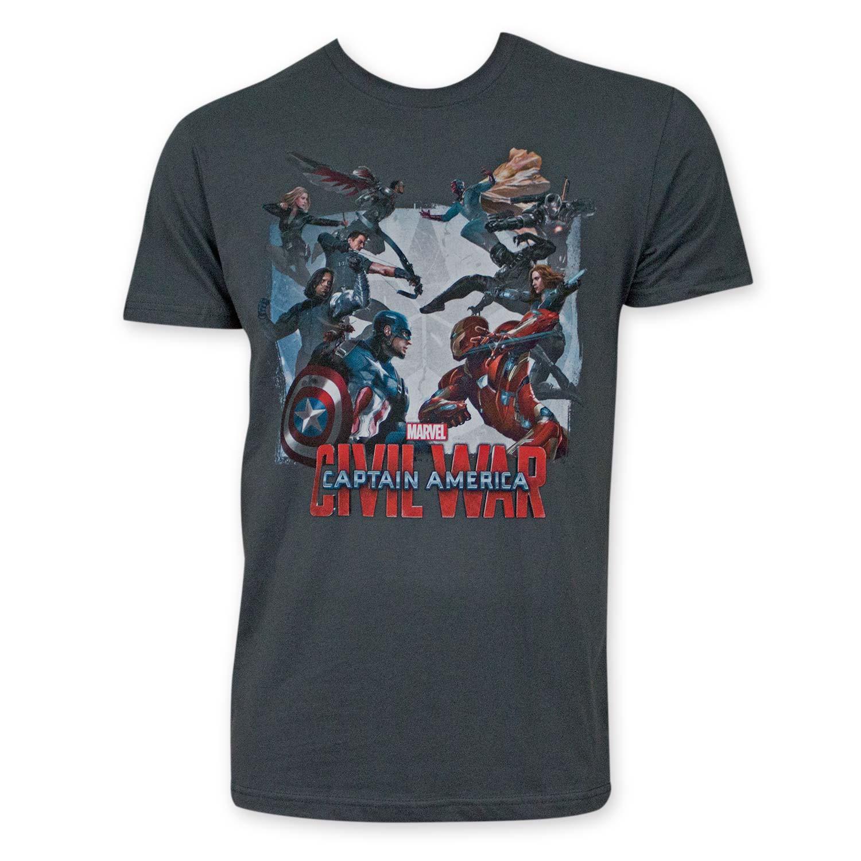 Captain America Men's Gray Civil War Tee Shirt