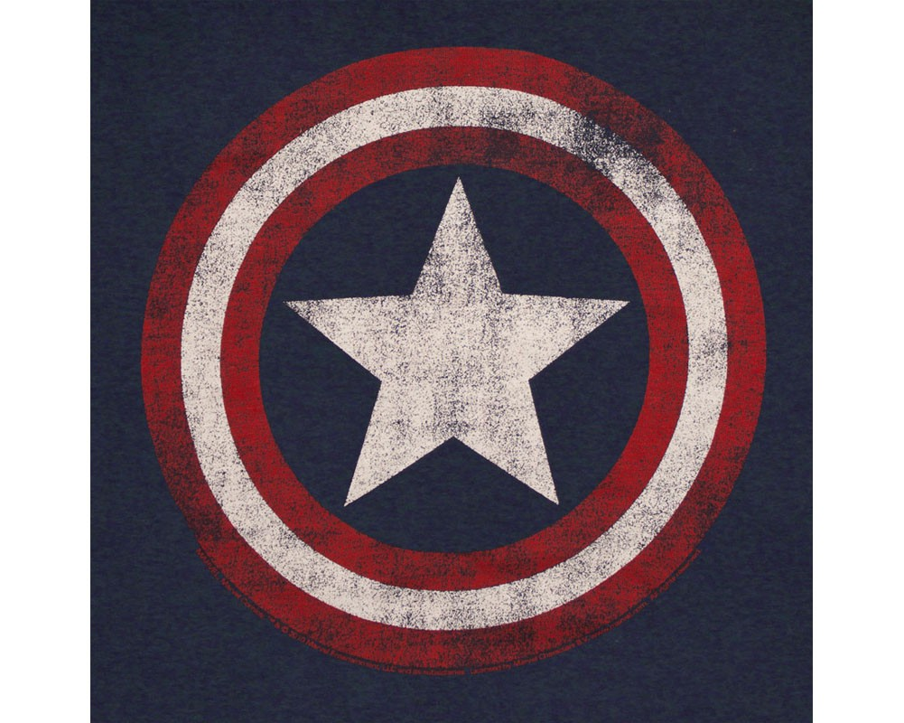 Captain America Distressed Shield Logo Navy Blue Graphic T-Shirt