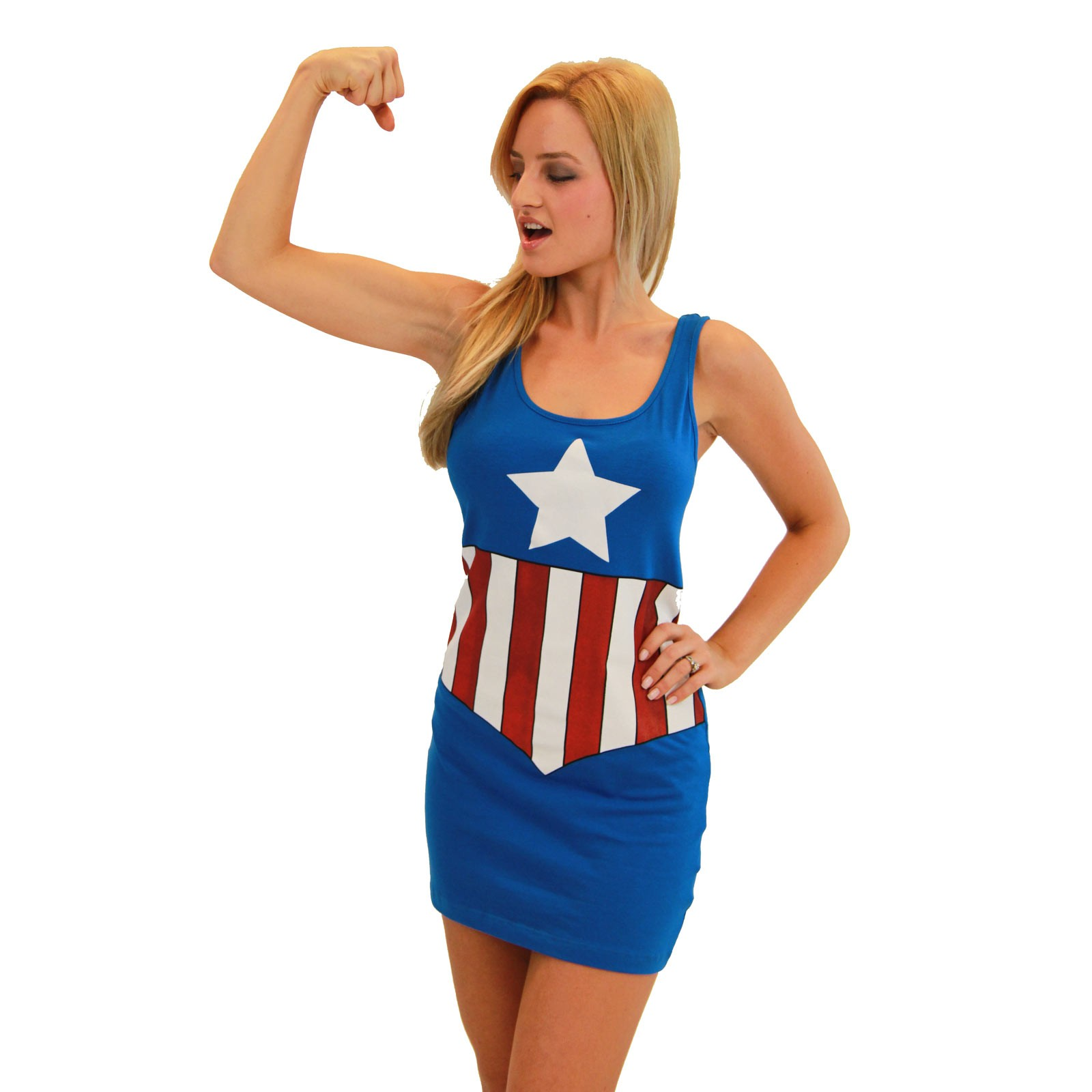 Women's Captain America Cotton/Spandex Tank Dress