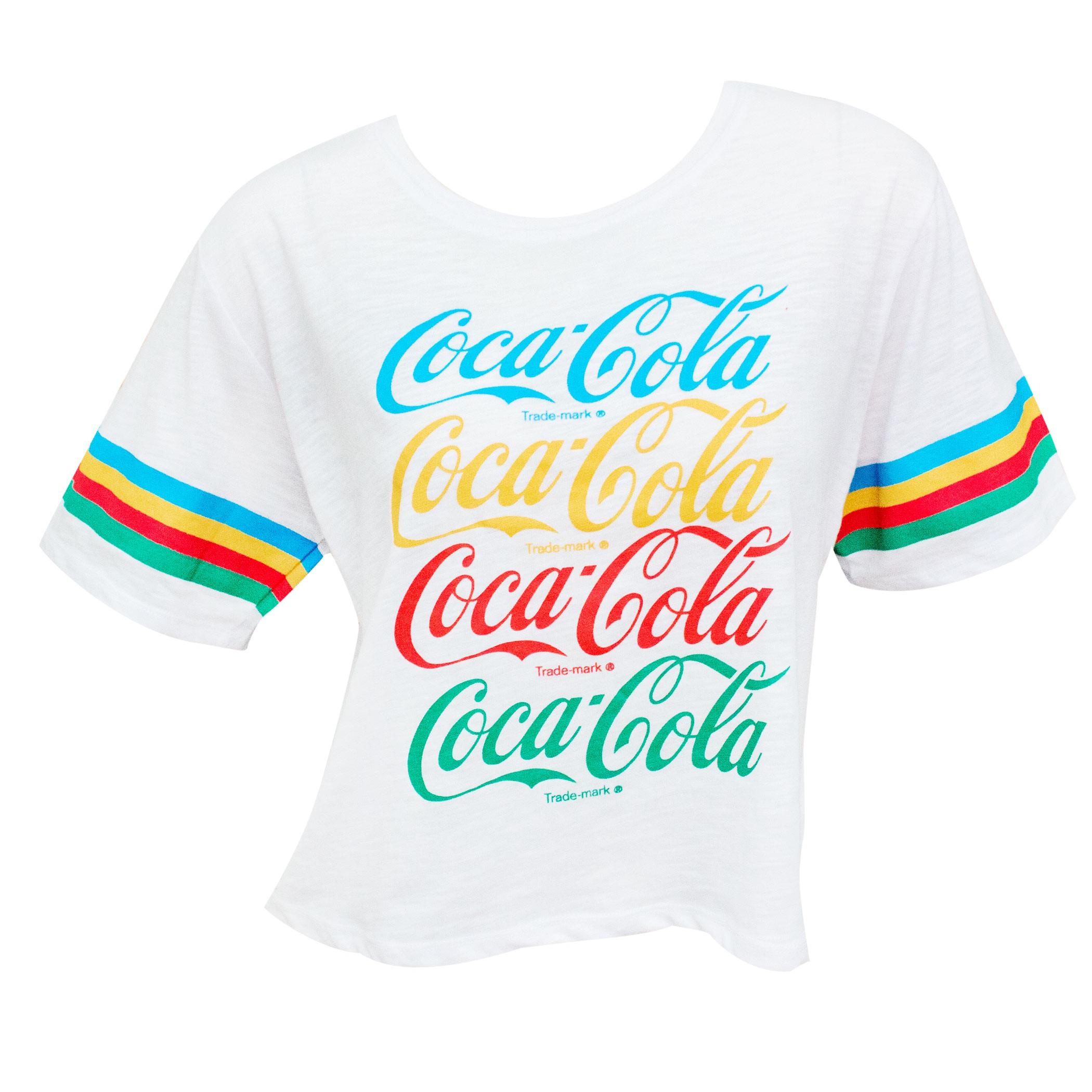 Coca Cola Rainbow Cropped Women's White Tee Shirt