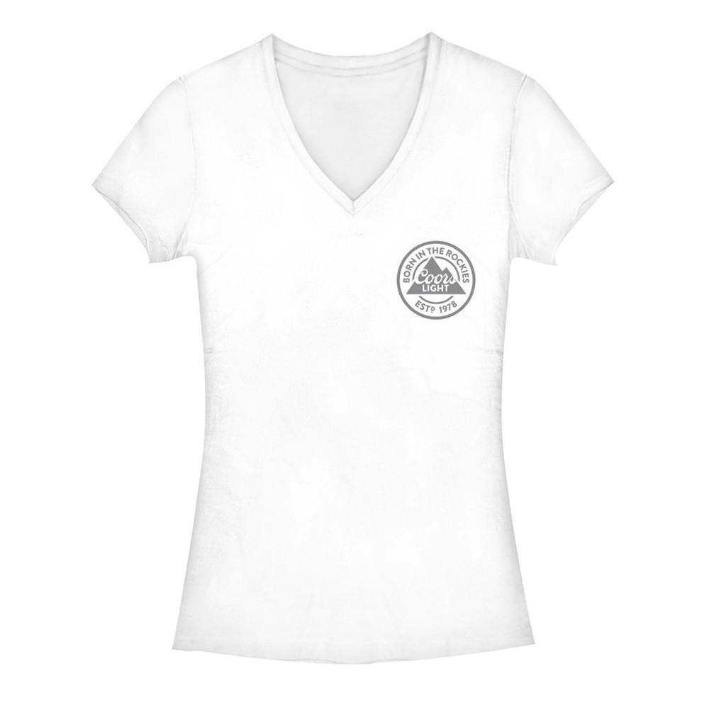 Coors Light Chest Logo Women's White Tee Shirt