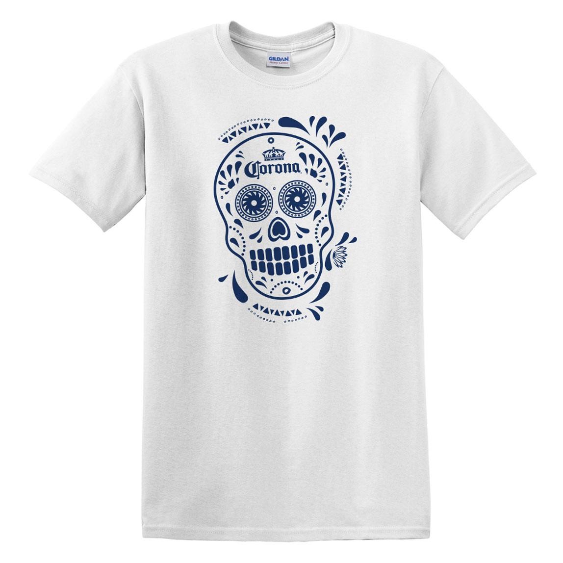 Corona Dia De Los Muertos Men's White T-Shirt