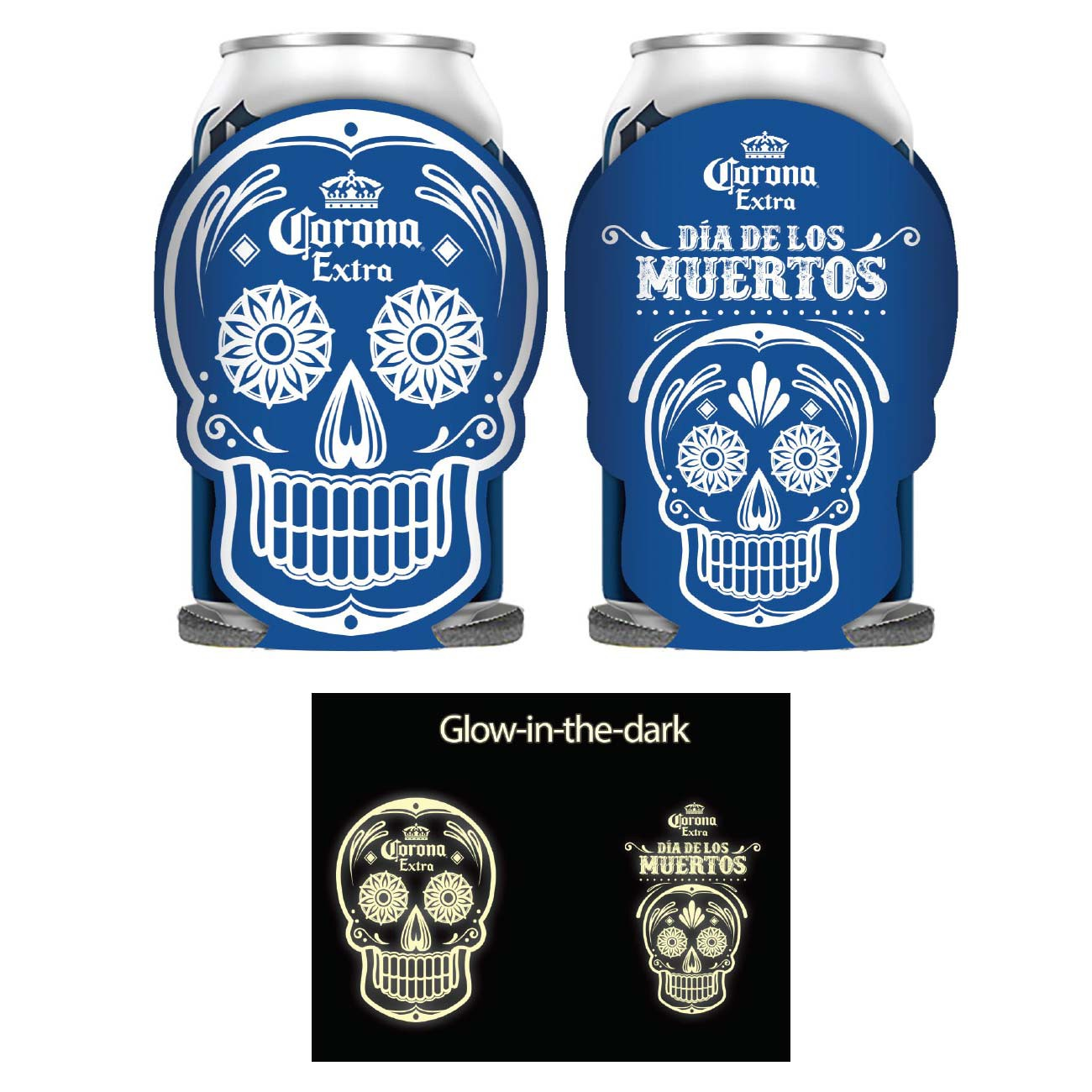 Corona Dia De Los Muertos Glow In The Dark Can Cooler