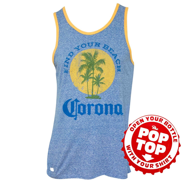 Corona Extra Men's Blue Find Your Beach Pop Top Bottle Opener Tank Top