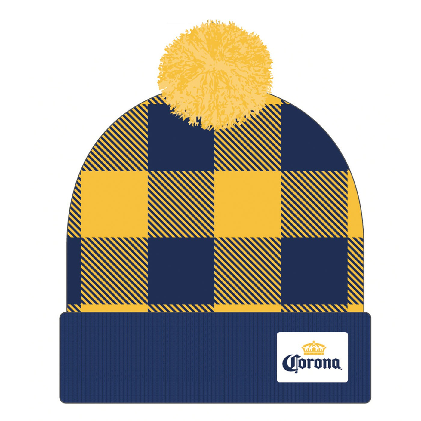 Corona Football Plaid Pom Hat