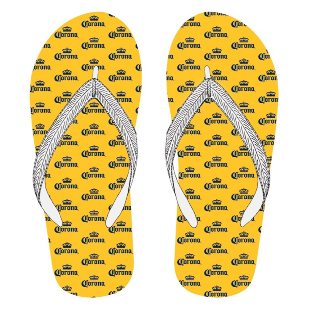 Corona Repeating Logos Yellow Men's Flip Flops