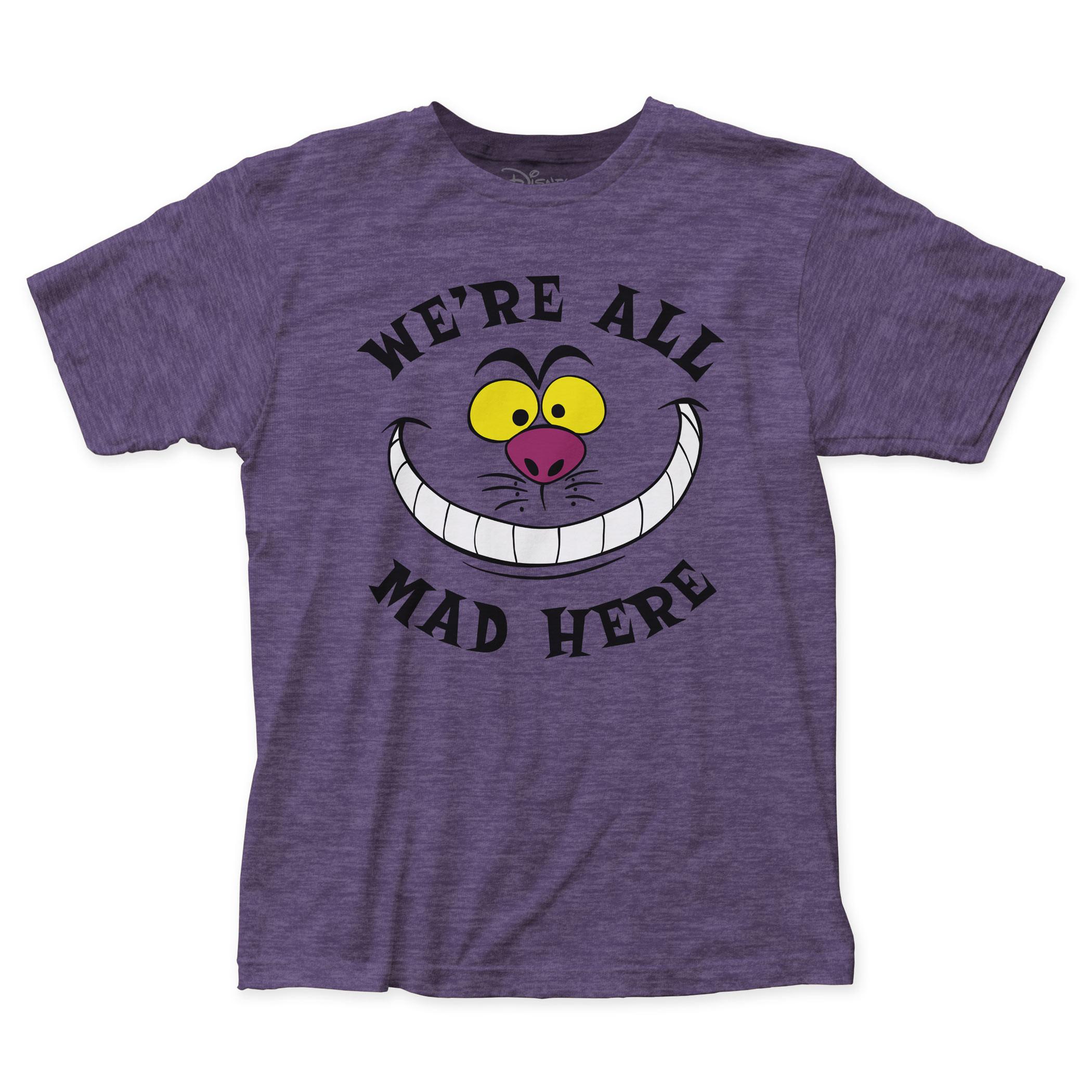 Alice In Wonderland We're All Mad Here Men's Purple T-Shirt