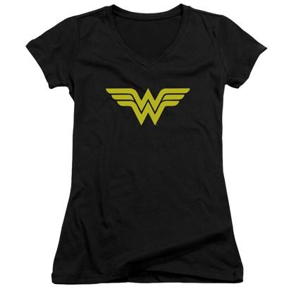 Wonder Woman Classic Logo Women's Black V-Neck Tshirt