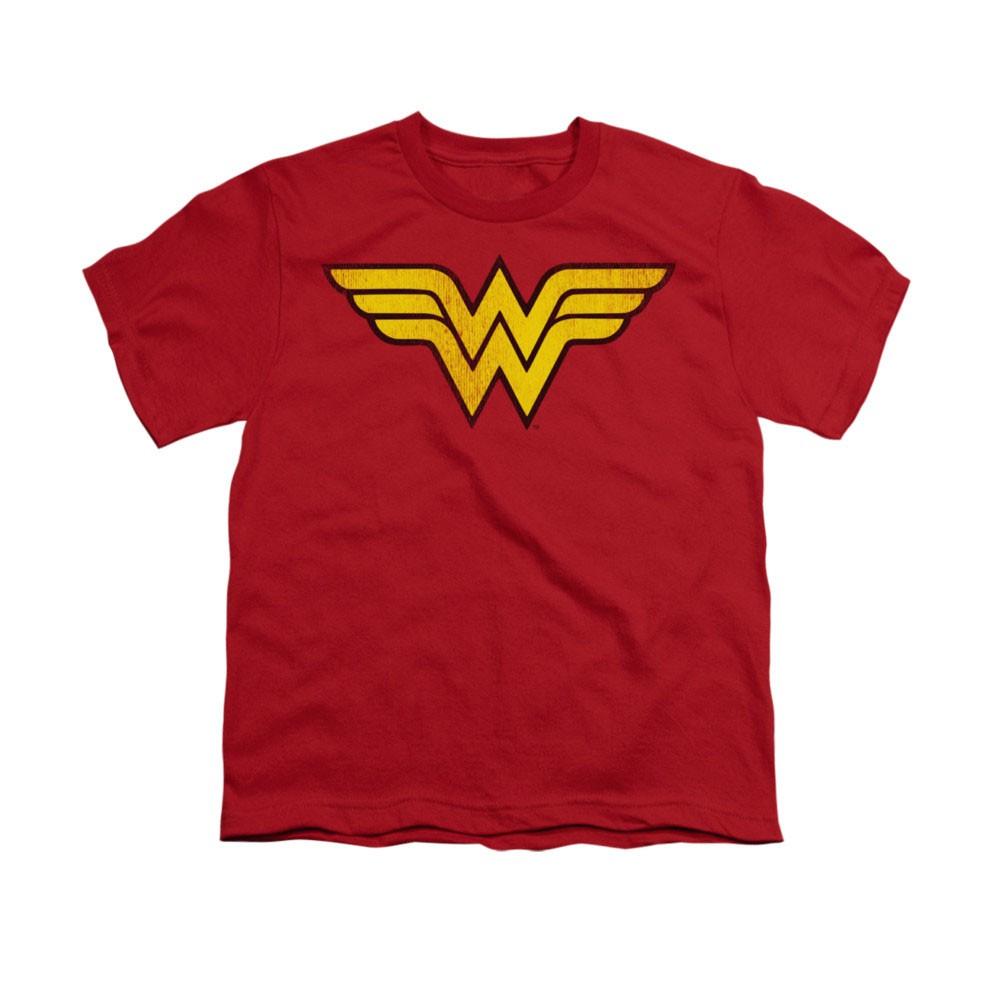 Wonder Woman Distressed Logo Red Youth Unisex T-Shirt