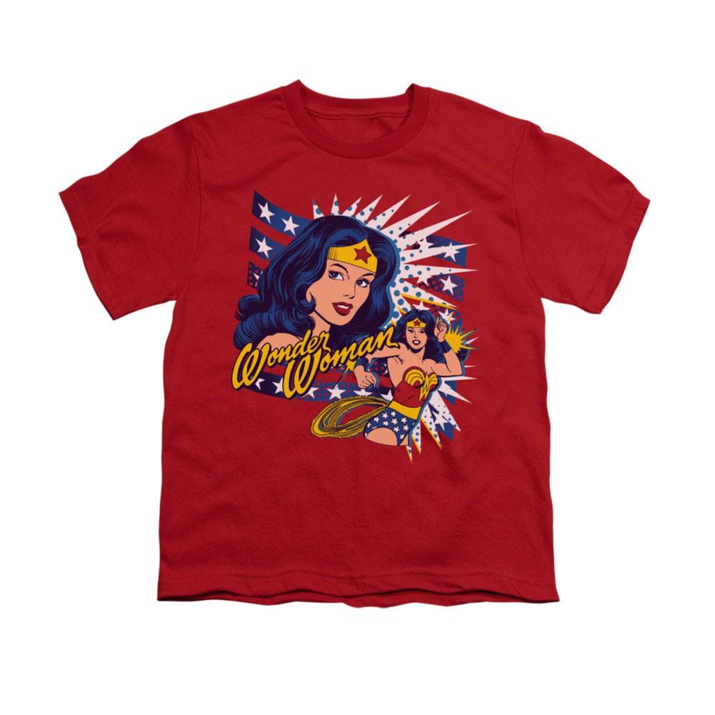 Wonder Woman Pop Art Red Youth Unisex T-Shirt