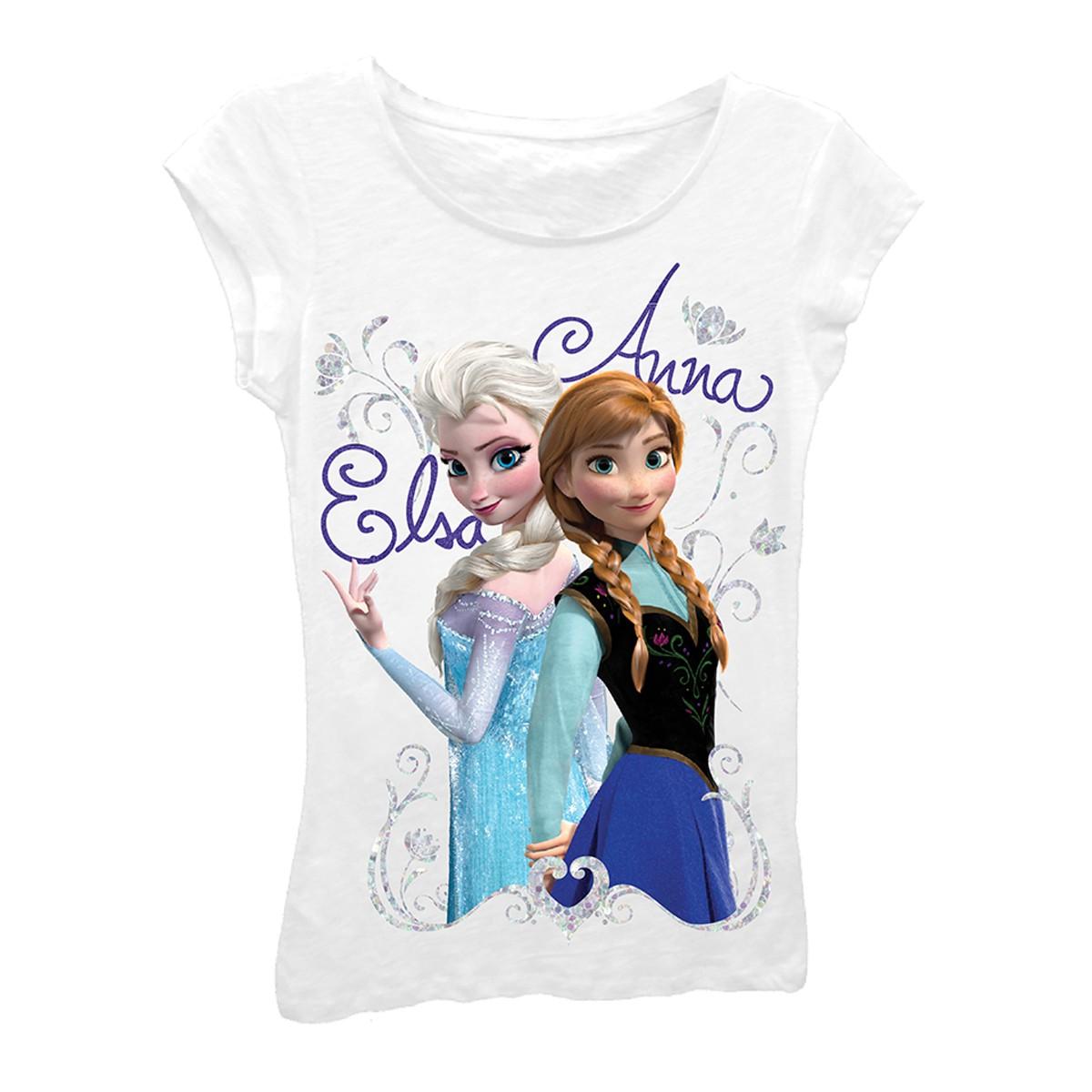 Disney Frozen Girls 7-16 White Elsa And Anna Tee Shirt