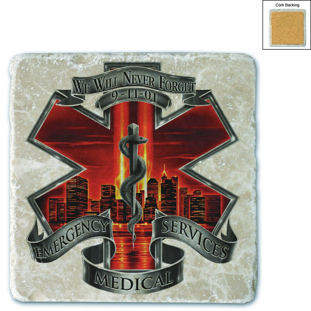 Red High Honor EMS Tribute Stone Coaster