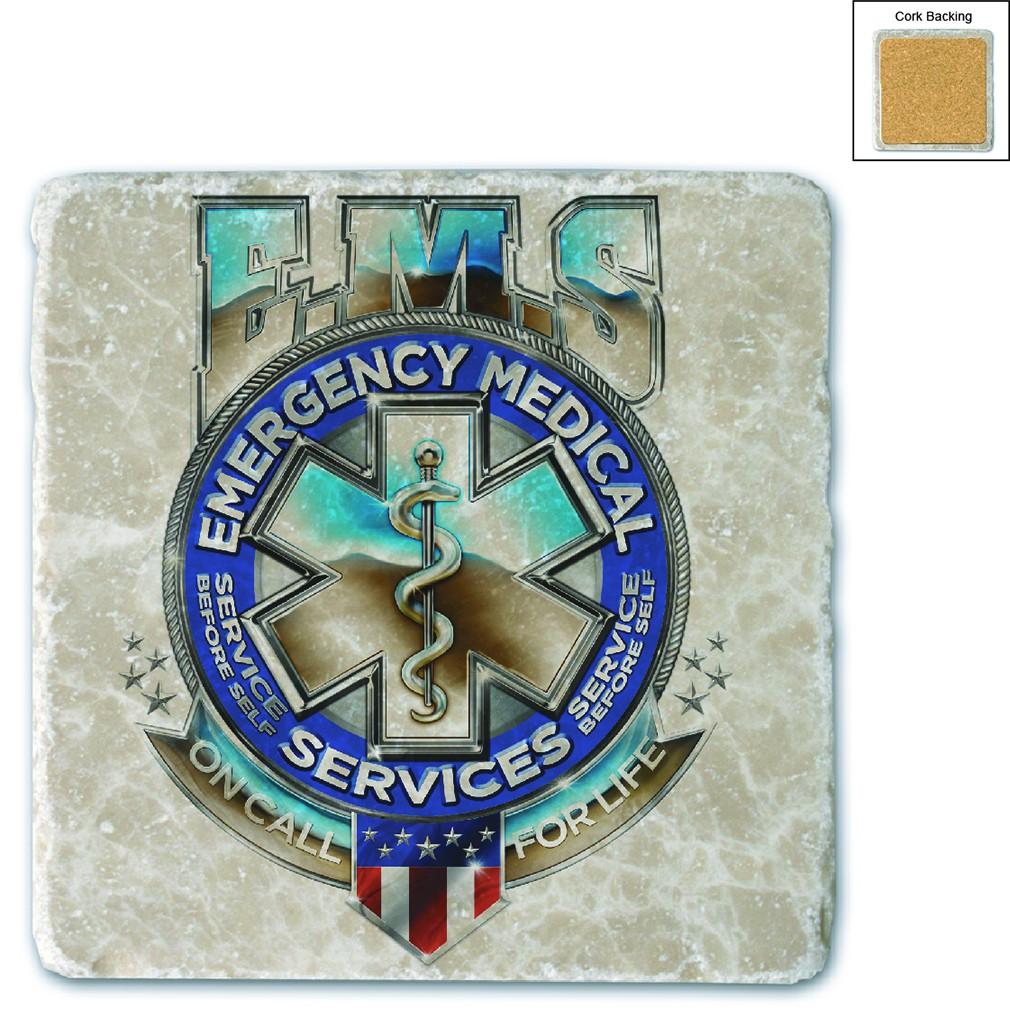 EMS Badge Of Honor Stone Coaster