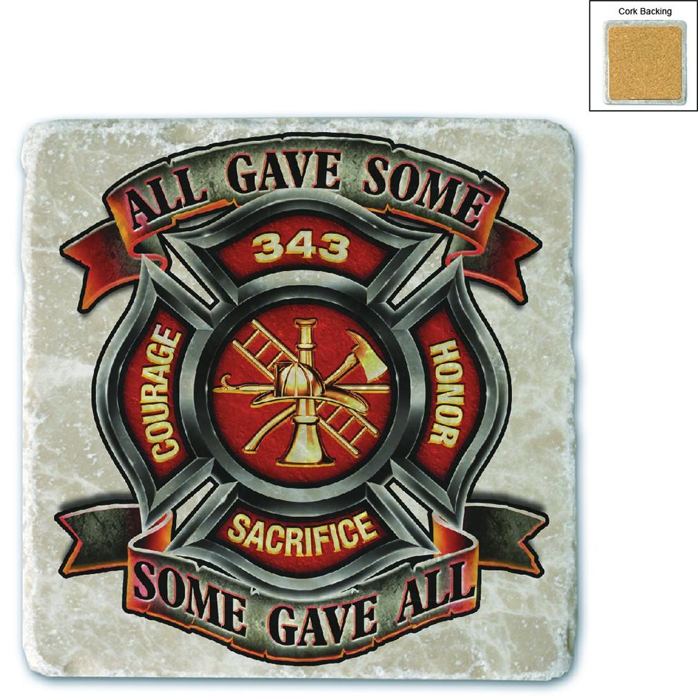 Fire Honor Courage Sacrifice 343 Badge Stone Coaster