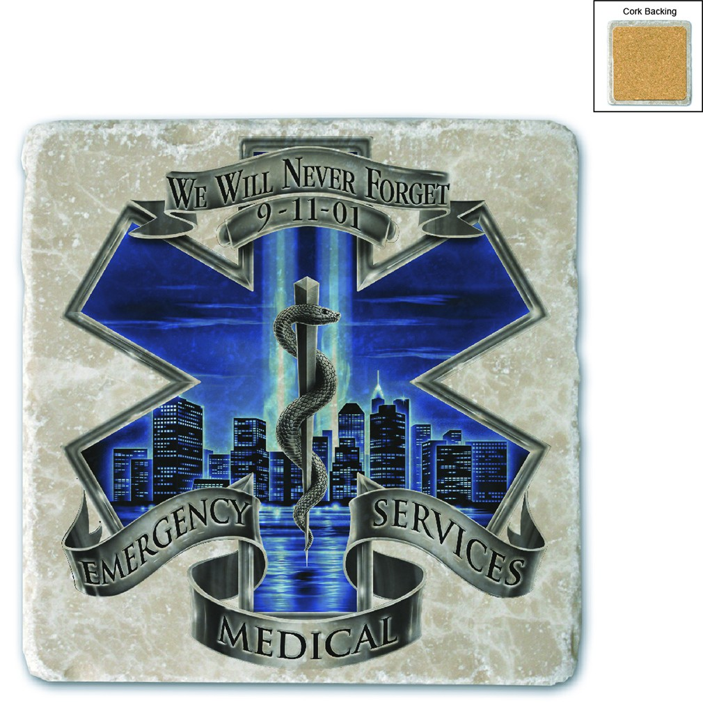 911 EMS Blue Skies We Will Never Forget Stone Coaster