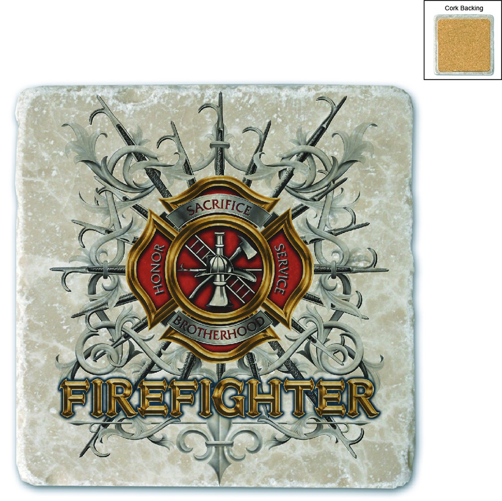 Firefighter Pikes Stone Coaster