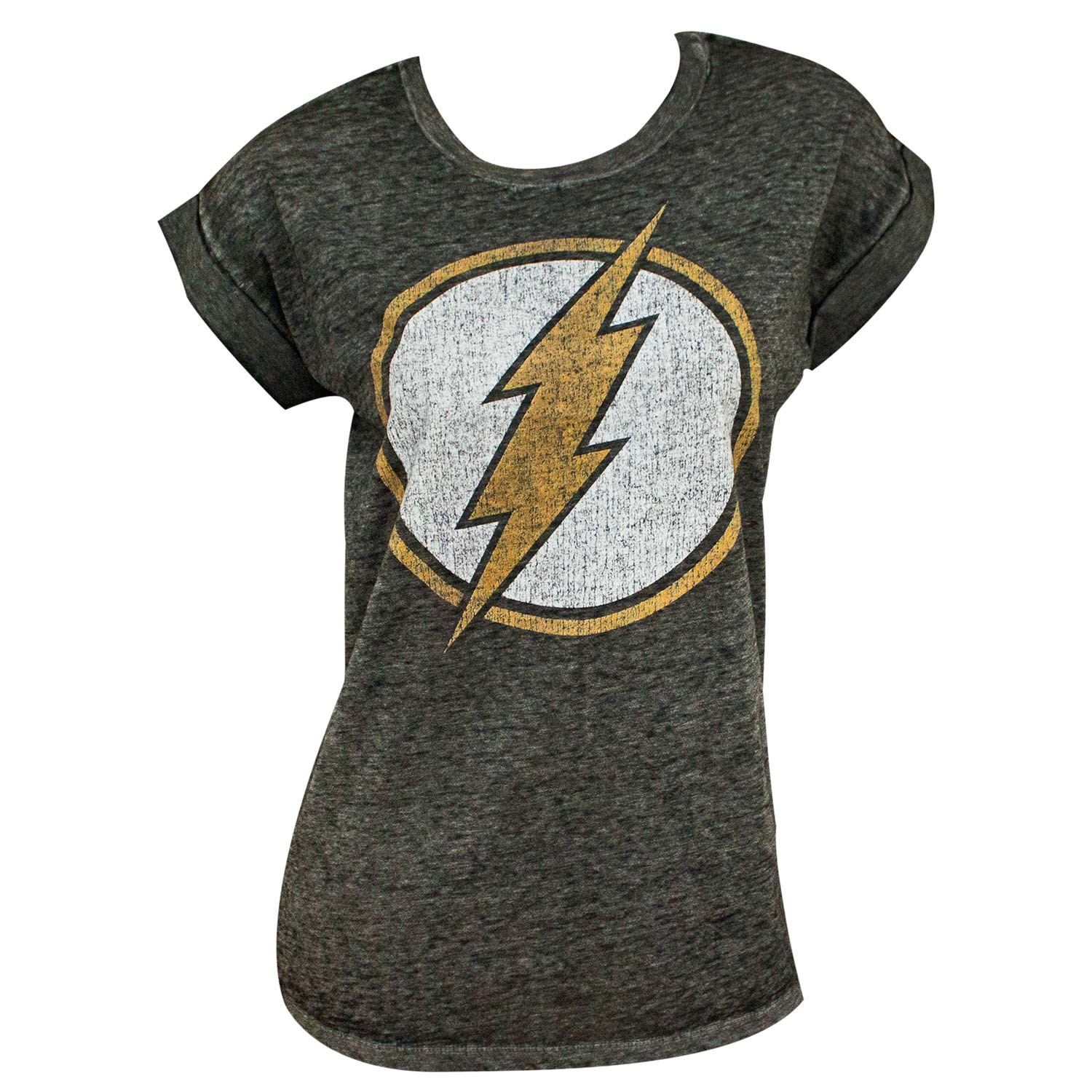 The Flash Logo Rolled Sleeves Women's Tshirt