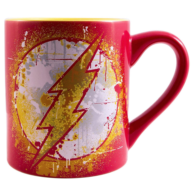 The Flash Paint Splatter 14oz Red Mug