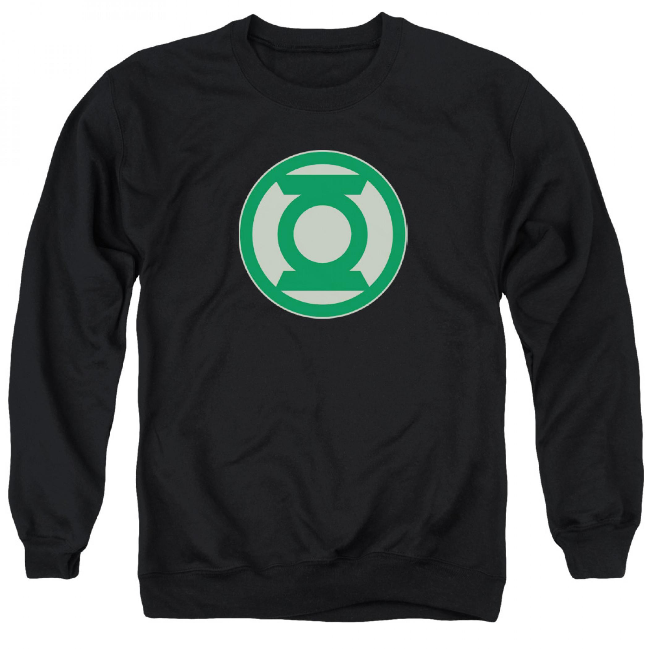 Green Lantern Logo Men's Black Crewneck Sweatshirt