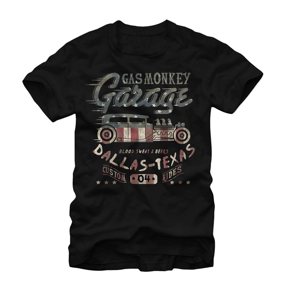 Gas Monkey Garage Flag Filled Black T-Shirt