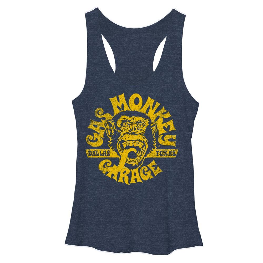 Gas Monkey Garage Face Blue Heather Juniors Tank Top
