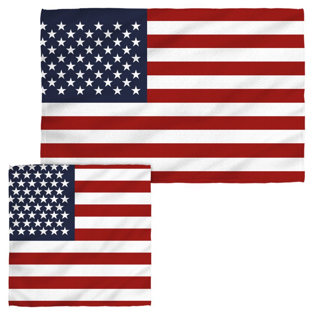 Patriotic American Flag Hand and Face Towel Combo