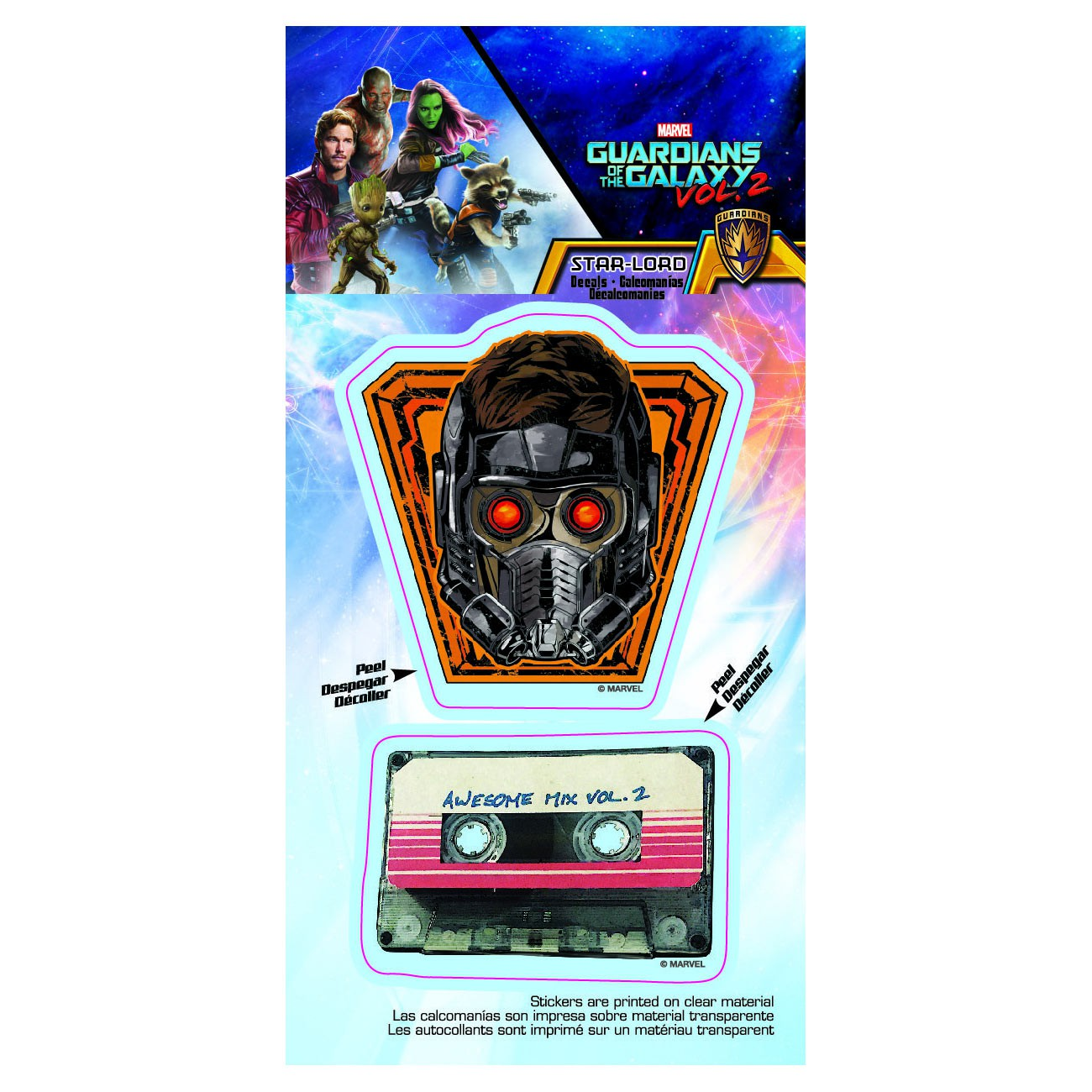 Guardians Of The Galaxy Star Lord Mask & Mixtape Car Window Decal