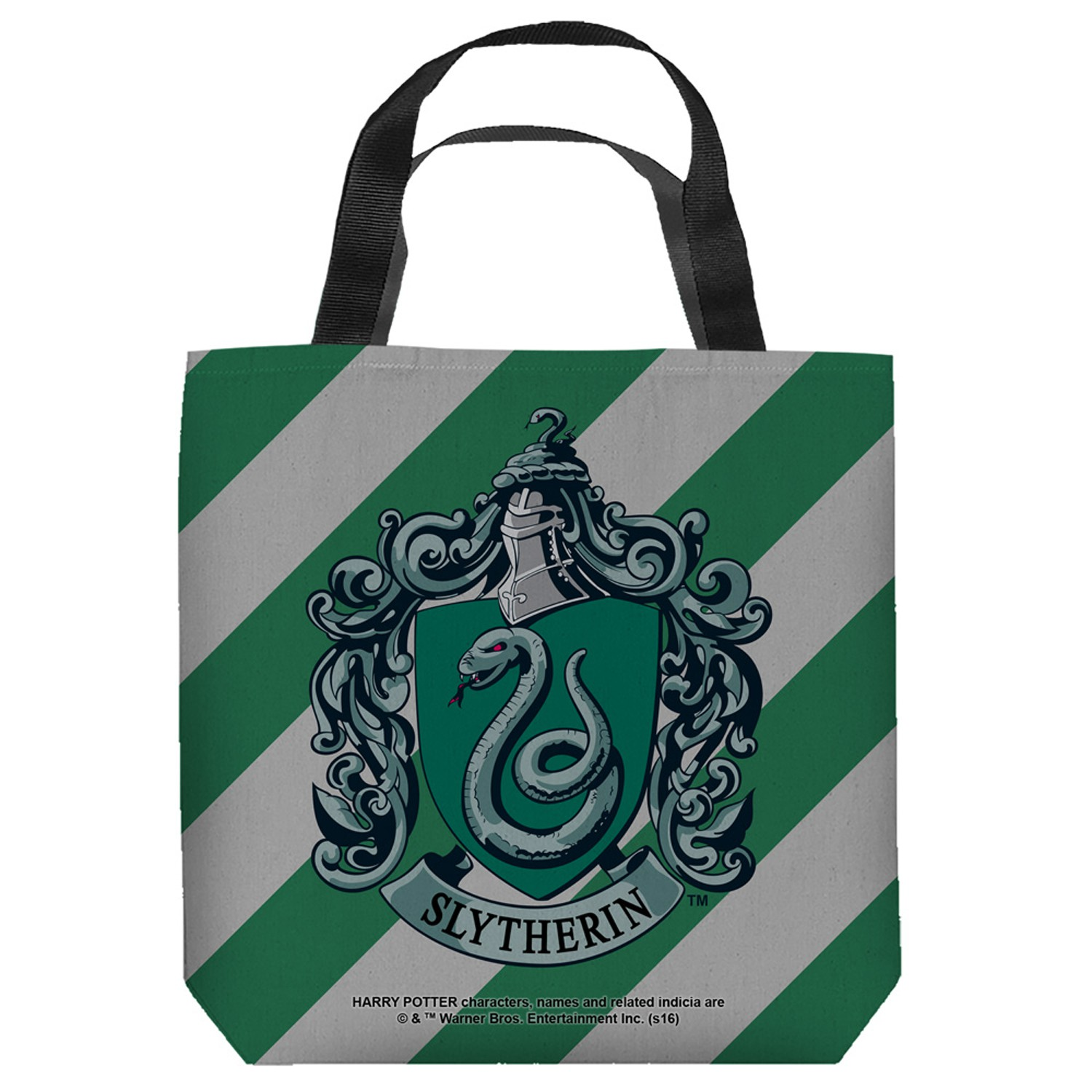 Harry Potter Slytherin Striped Crest Tote Bag