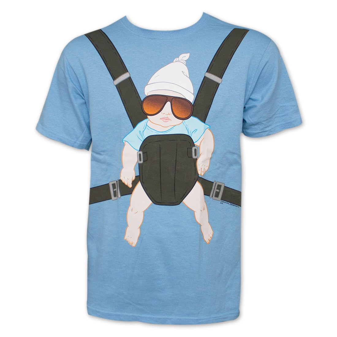 The Hangover Baby Carrier Blue Graphic Tee Shirt