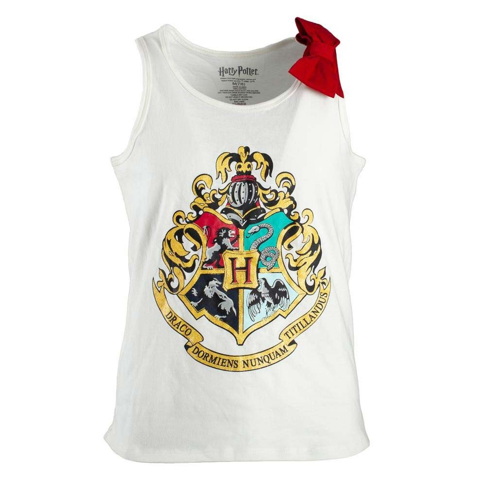 Harry Potter Hogwarts Crest Girls Youth 7-16 White Tank Top