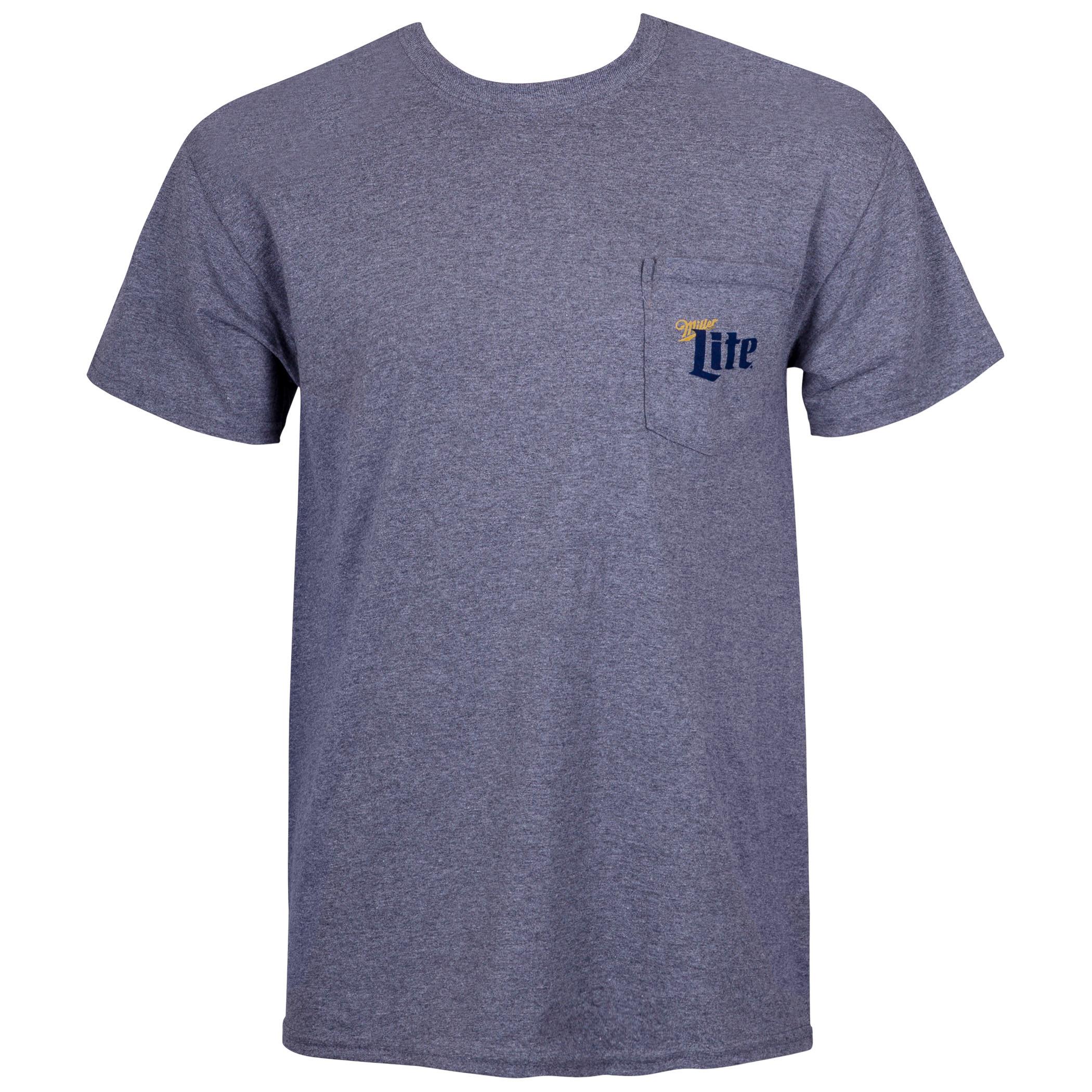 Miller Lite Grey Pocket Tee Shirt