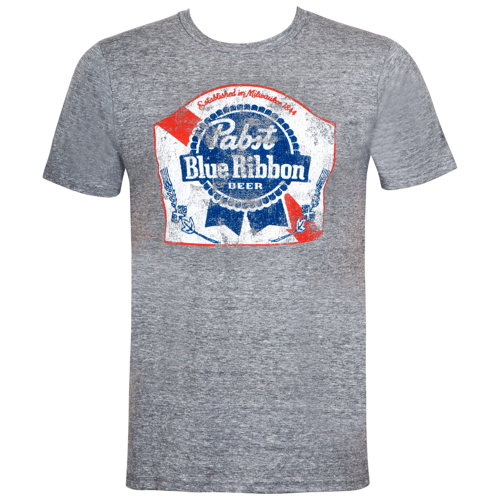 Pabst Blue Ribbon Classic Logo Grey Tee Shirt