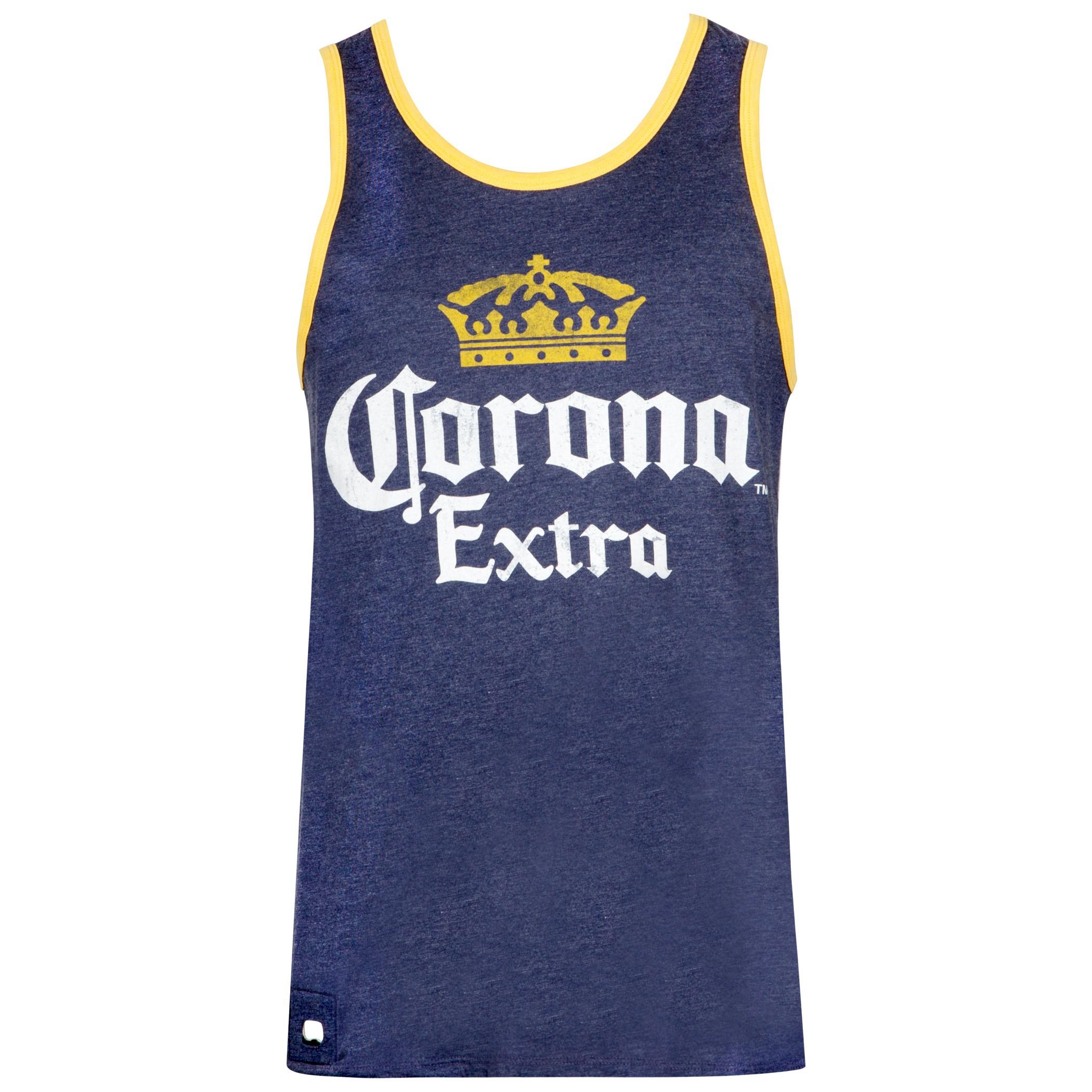 Corona Extra Men's Dark Blue Pop Top Bottle Opener Tank Top