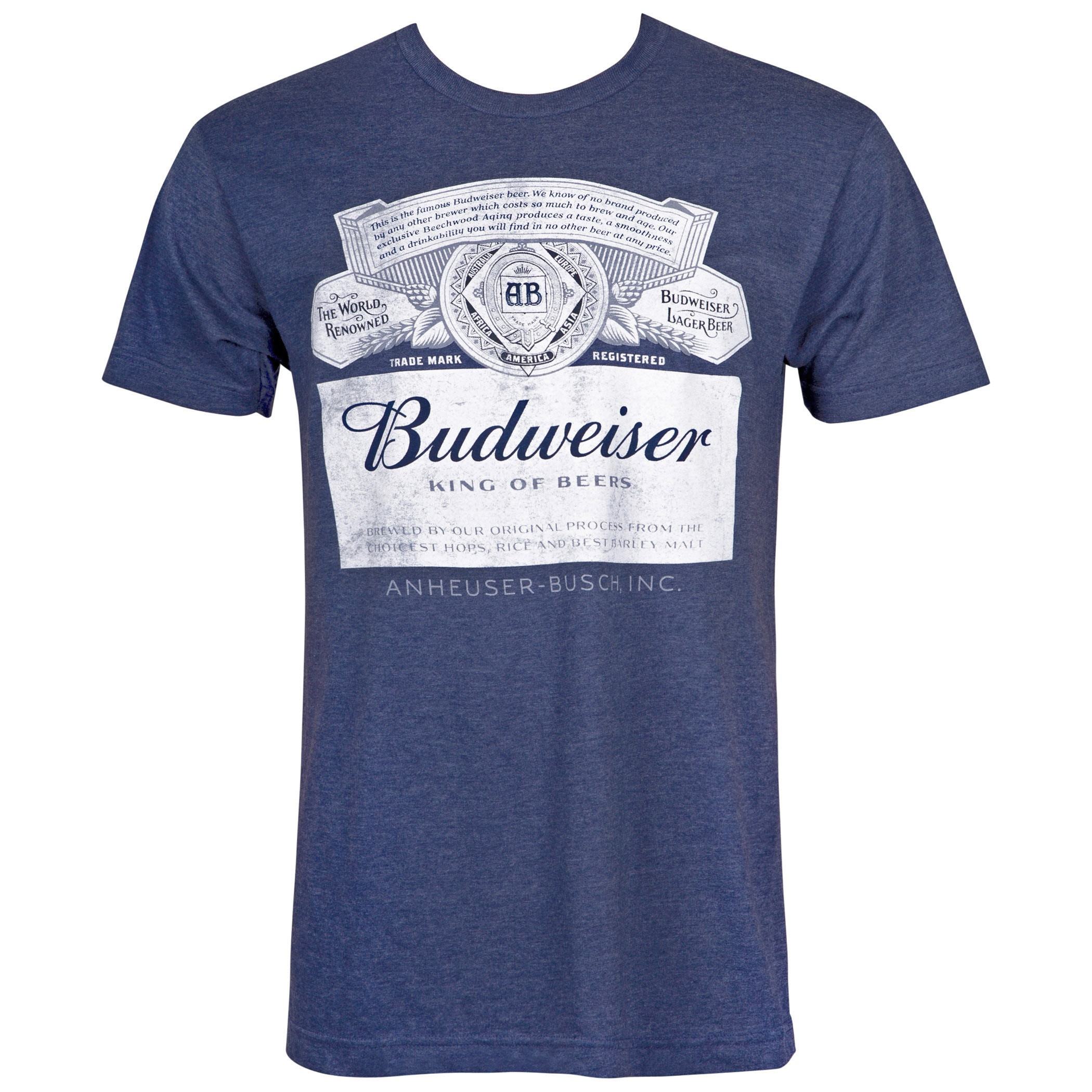 Budweiser Label Midnight Navy Blue Tee Shirt