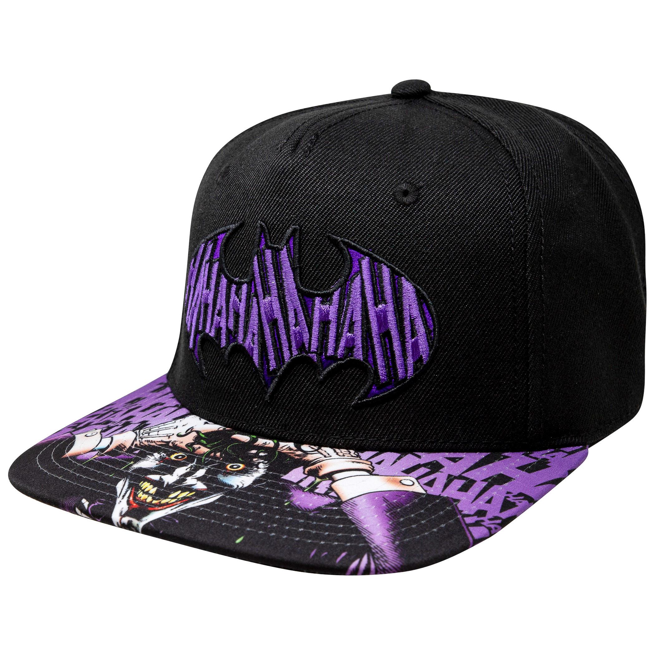 af3d32f46 Batman Joker Sublimated Bill Black Snapback Hat