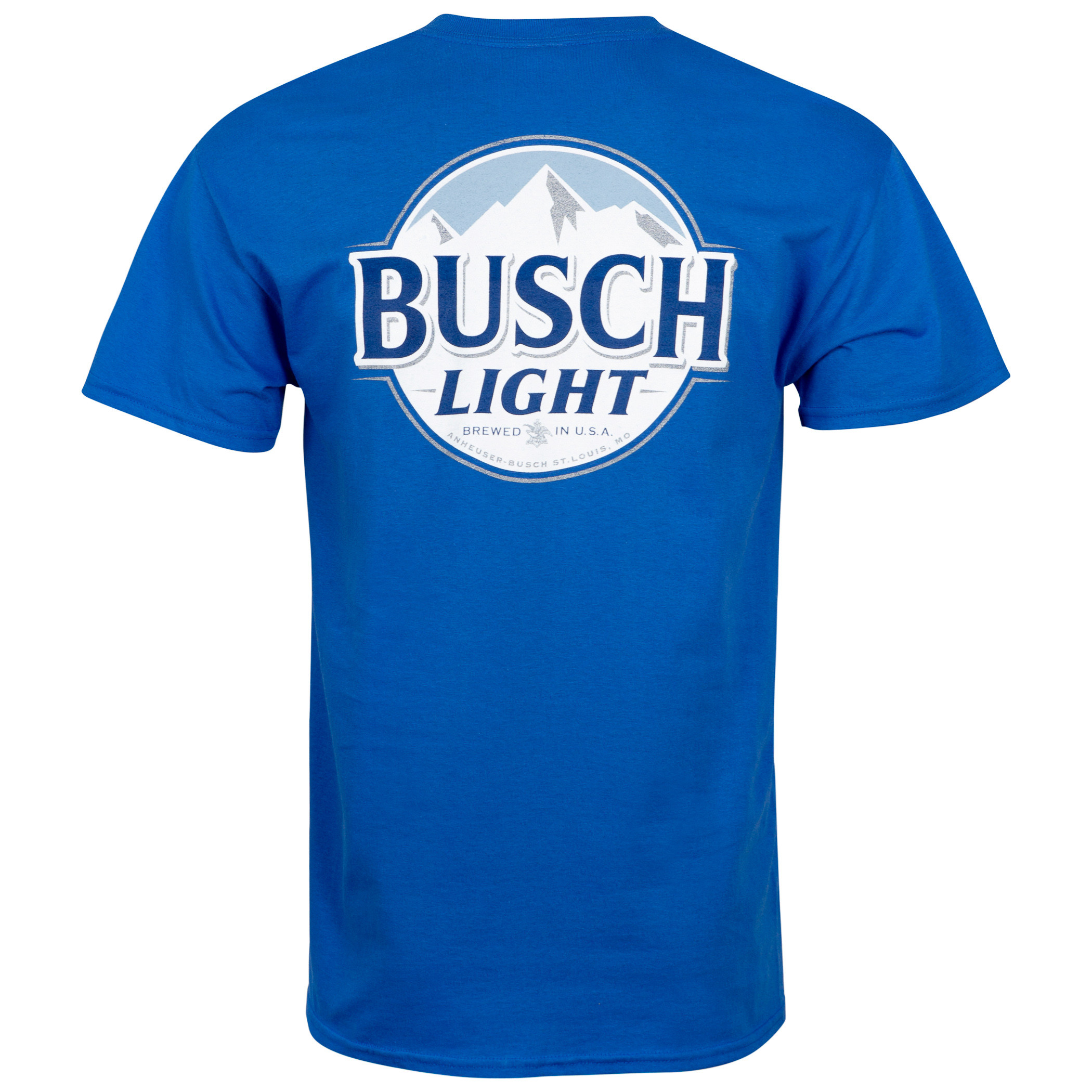 Busch Light Front And Back Print Blue Pocket Tee Shirt