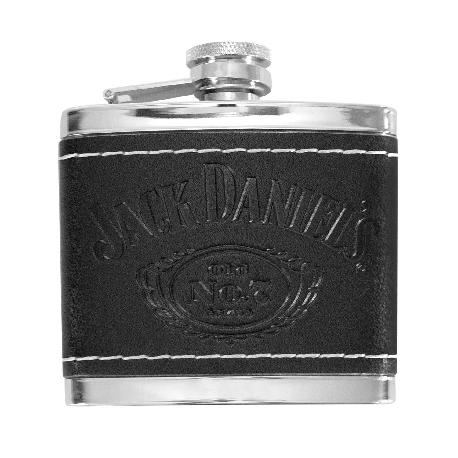 Jack Daniels Black Leather 4 OZ Flask