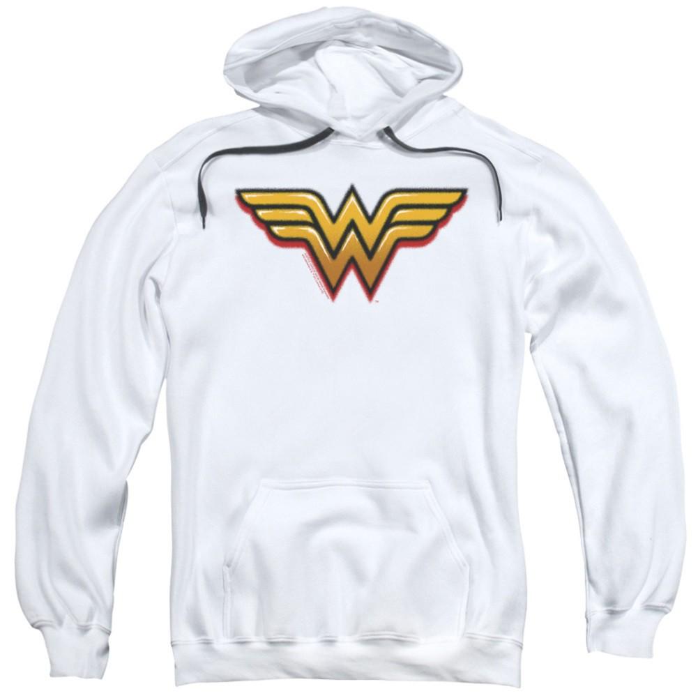 Wonder Woman Airbrushed Logo White Hoodie