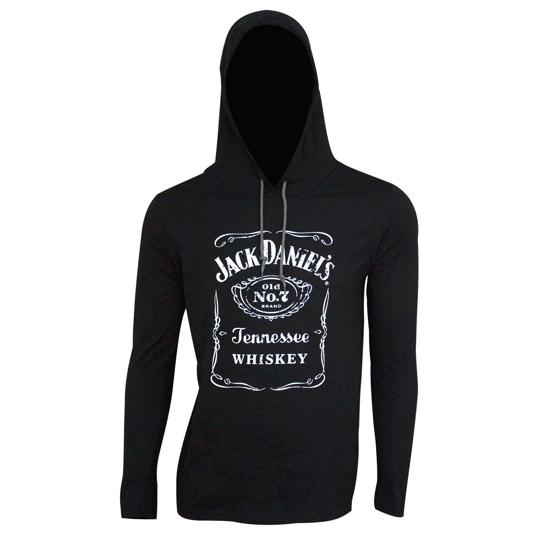 Jack Daniel's Classic Logo Long Sleeve Black Men's Hooded T-Shirt