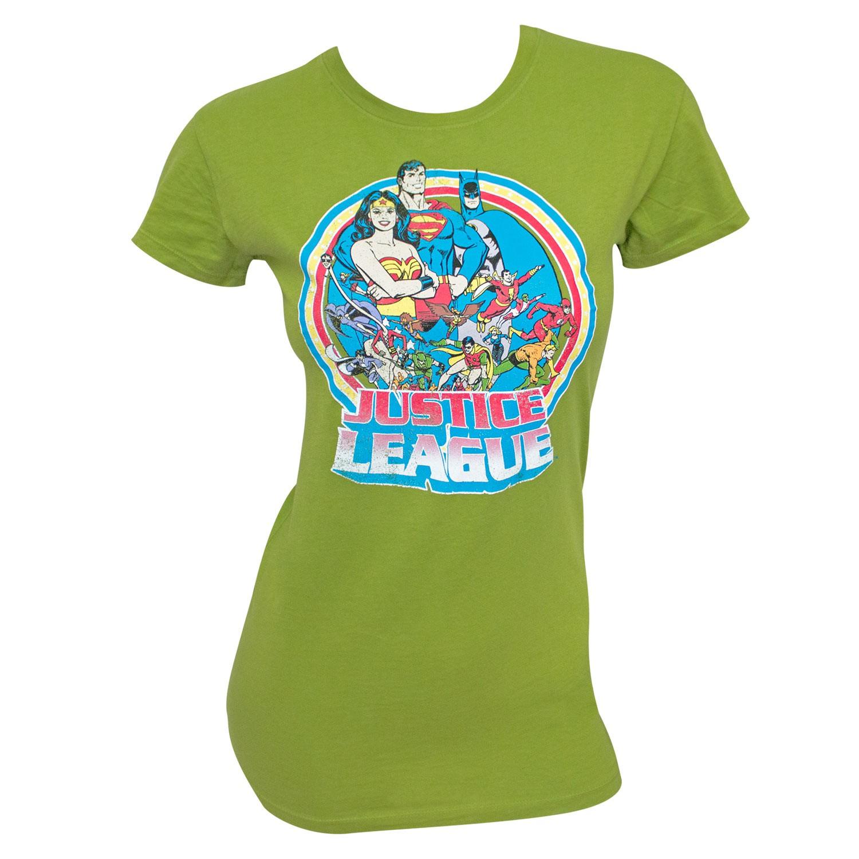 Justice League Retro Circle Women's Green T-Shirt